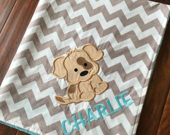 Puppy Blanket- Personalized Baby Blanket- Puppy Baby Blanket- Dog blanket- Chevron Baby Blanket- Nursery Blanket