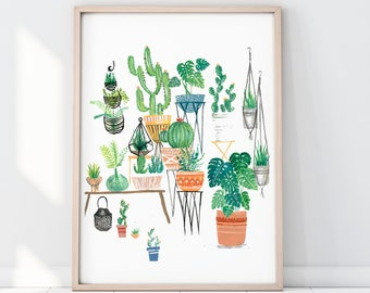 Potted Jungle Print, Botanical Illustration, Plants Print Illustration, Indoor Plants, Botanical Print, Cactus Print, Terrarium Print
