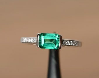 lab emerald ring engagement ring sterling silver emerald shaped gemstone May birthstone ring