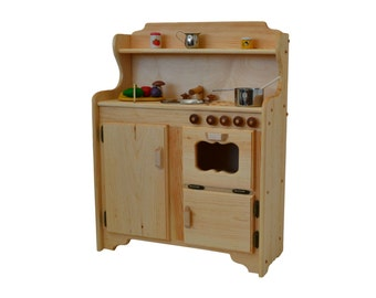 Waldorf Play Stove -Wooden Toy kitchen - Wooden  Play Kitchen - Montessori kitchen- Child's Stove- Play Kitchen-Wooden Toys- Play Food
