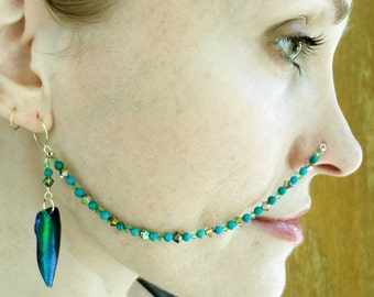 14K Gold Filled-Turquoise-Swarovski Crystal-Real Beetle Win-Nose Chain / Free US Shipping