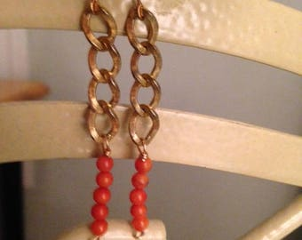 Vintage Chain Earrings with Coral Beads