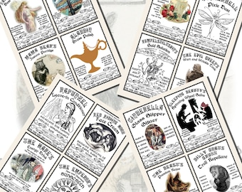 Fantasy Potion Labels -- Fairy Tale Characters, POSTCARD SIZE, (3.5 x 5 Inch or 12.7 x 8.8 cm), 12 Total