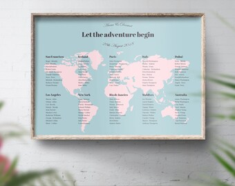 World seating chart travel theme table plan map seating travel theme table plan map wedding travel themed world seating chart map seating publicscrutiny Image collections