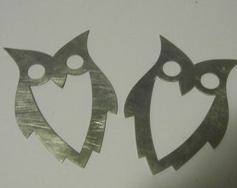 Metal Owl - Country decor - cowgirl - wildlife - realistic animal art - Ornament or craft supply wreath adornments - Ships Priority Mail!