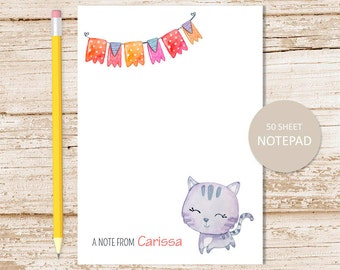 cat personalized notepad . kitty cat note pad . watercolor . personalized stationery . kids, childrens stationary
