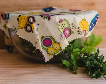 Beeswax Food Wrap, foodwrap, Reusable wraps made with Organic Jojoba Oil. All natural. Cat, Bees, Floral, Country Fruit and Veggie patterns