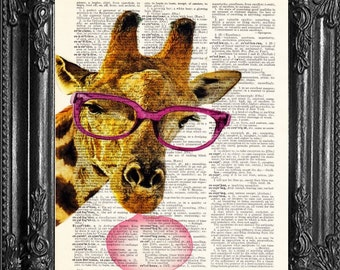 Giraffe dictionary page Art Poster Print  Giraffe Animal Glasses  Funny Poster Art Print Giraffe Gift Poster Animal Print  Kids Room Nerd