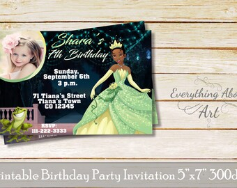 Princess and the frog invitation, Tiana birthday invitation, Tiana invitation, Tiana birthday, Princess and the frog birthday invitation