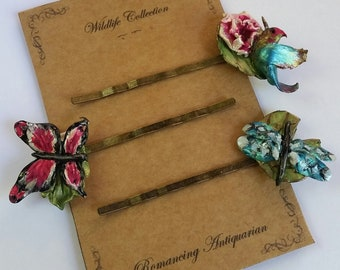 Butterfly/Bird/Dragonfly Bobby Pin Variety Set, Handcrafted Nature Hairpins