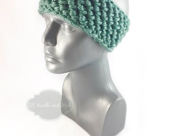 Teal Crochet Headband, Green Chunky Ear Warmer, Aqua Knit Head Wrap, Winter Headband, Head Warmer,