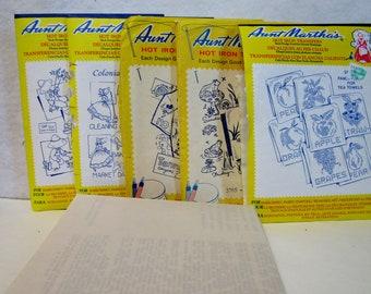 Lot of 6 - Aunt Martha's Hot Iron Transfers, Embroidery, Pattern, Needlepoint, Aunt Martha, Hot Iron, Transfer