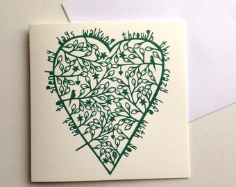 Anniversary card, love heart, crazy life with you, jade green, blank