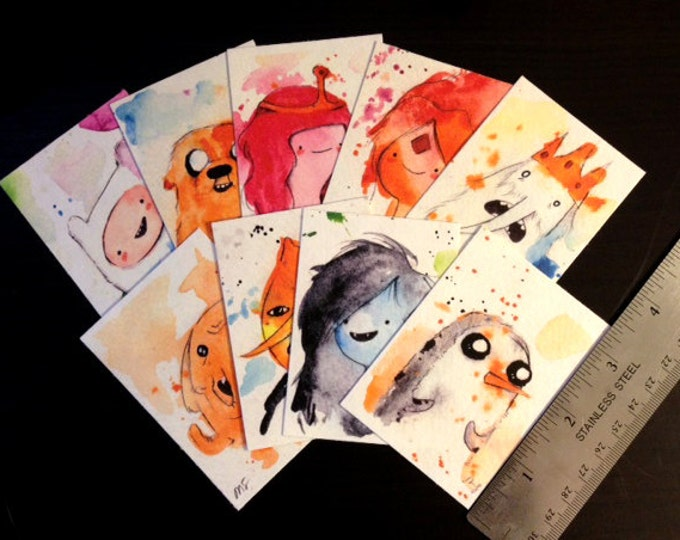 SET of Artist Card Prints / Archival reproductions 3.5x2.5 artist cards. Adventure Time Fan Art Watercolor Painting Drawings