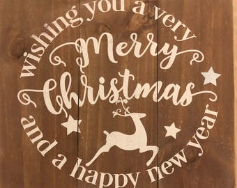 Merry  Christmas and Happy New Year      - wood sign. 15X17  in.  Available in other colors.