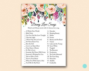 Famous Love Song Match Game, Match Movie to famous Love songs, Pink Blush Bridal Shower Game, Pink Floral Bridal Shower Activities BS436