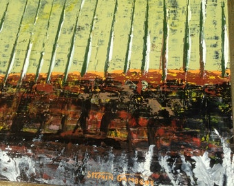 "ORiGiNAL ""ViNEYARD Abstract "" winery wine - original Acrylic Painting with vintage wood frame   -   37"" X 18""  - (17-2060)"