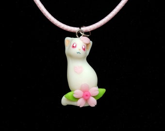 Cat necklace - cat pendant - polymer clay necklace - animal jewelry - animal pendant - polymer clay pendant - kitty necklace - sakura