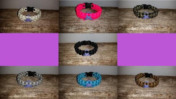 Hodgkin's Lymphoma Cancer Awareness 550 paracord survival bracelet violet ribbon