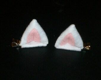 3D White Kitty Ears Hair Clips