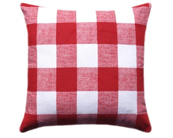 Red Buffalo Check Plaid Pillow, Red Throw Pillow Cover, Red and White Check, Pillow Cover, Plaid Decorative Pillow, Anderson Lipstick Red