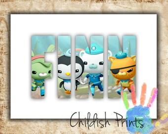personalised OCTONAUTS character name print art gift printable - barnacles kwazii peso tweak shellington inkling dashi tunip