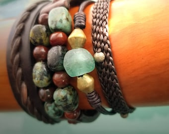 Jayla African Glass Bead Leather Bracelet, Leather Cord Bracelet, Adjustable Bracelet, African Aquamarine or Charcoal Beads, Silver or Brass