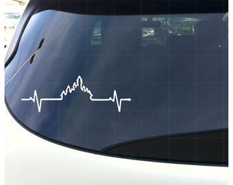 """Disney Castle Heartbeat - White 6"""" Wide Window Bumper Sticker"""