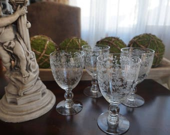 Vintage, Set of Four Duncan Miller First Love Etched Crystal Glass Wine Goblets