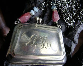 assemblage purse necklace with ruby nuggets and aquamarine and Chainmaille, monogrammed silver, ooak, ruby jewelry,  AnvilArtifacts