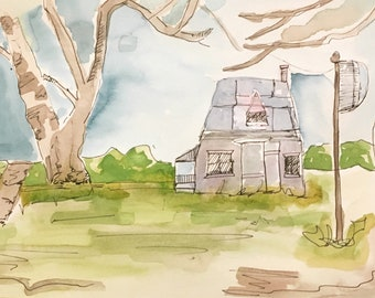Soft farm scape || farmhouse decor || watercolor painting || original painting