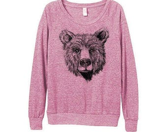 Bear Sweatshirt  - Womens berry Bear Sweatshirt   - Small, Medium, Large, Extra Large
