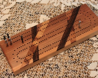 Continuous Track, Wooden Cribbage Board with Inlays