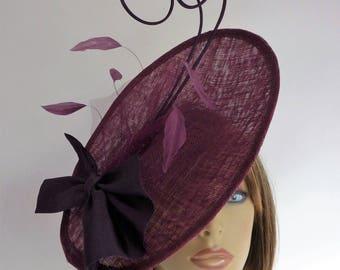 MADE TO ORDER - Plum - purple - fascinator  - wedding - mother of the bride - Ascot - races - hat - hatinator - saucer - headpiece - disc