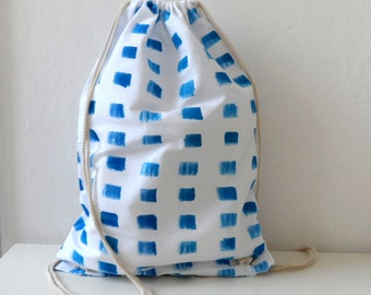Nautical bag, Blue White Striped Marine  Tote, Handpainted summer Backpack, Drawstring bag, nautical bag