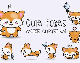 Premium Vector Clipart - Kawaii Foxes - Cute Foxes Clipart Set - High Quality Vectors - Instant Download - Kawaii Clipart