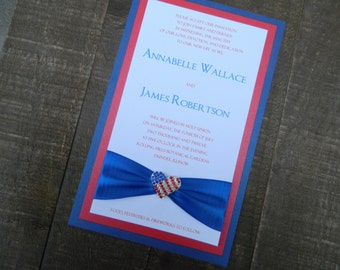 Fourth of July -  Independence Day - Americana - Red White & Blue -  Fireworks Wedding Invitation with RSVP and 2 Envelopes