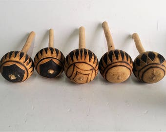 Gourd Maraca Shaker Hand Carved & Pyrography African Tribal Artwork Hand Made Maraca Vtg Nos