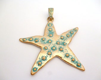 Aged Patina Golden Large Charm Pendant_ANT0545641200_Gold Patina Charms_Starfish_of 75 mm _ pack 1 pcs