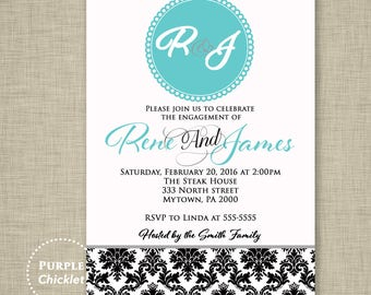 Teal Blue Engagement Party Invitation Dinner Party Invite Damask Adult Party Invite  JPEG file (22)