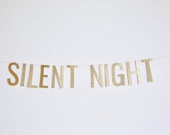 Silent Night Banner - Glitter Christmas Banner, Holiday Banner, Christmas Party Decor