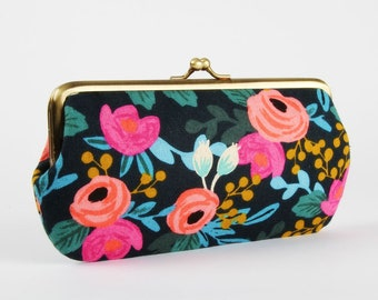 Frame purse with two sections - Rosa navy - Wowlet / Kisslock wallet / Japanese fabric / Cotton and Steel / Rifle Paper Co / pink mint blue