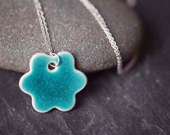 """Turquoise Ceramic Flower Pendant ~ Necklace ~ Jewellery ~ Handmade ~ Sterling Silver ~ 925~ 18"""" Chain ~ Gifts for Her"""