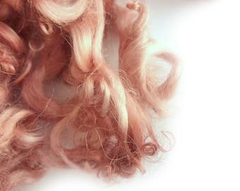 Rose Pink Leicester Curls - Baby Wool Locks - Felting Supplies - Curly Locks
