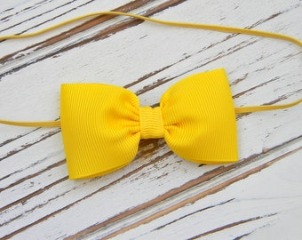 Yellow Bow Headband - Newborn Bow Headband - Baby Yellow Bow Headband