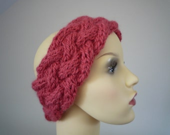 Hand knit coral pink cabled headband, wool and alpaca