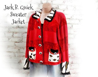 red sweater jacket - elegant sweater -unique sweater - romantic sweater - Bohemian sweater  - Size Medium -# 5