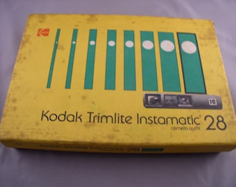 1970s KODAK Trimlite t Instamatic 28 Camera Outfit in Box with Instructions & Unused Flip Flash Bar- Vintage Camera