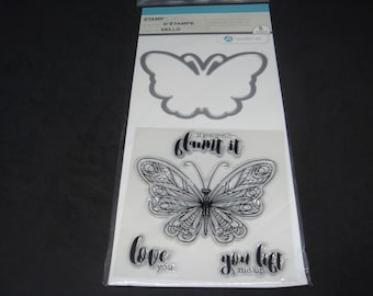 """Hampton Art Stamp & Die Set-  Clear Stamps and Dies *3 x 4* """"Butterfly- Lift Me Up"""""""