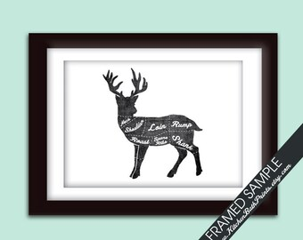 VENISON (Butcher Diagram Series) - 5x7 Art Print (Featured in Vintage Chalkboard and White) Customizable Kitchen Prints